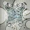 Vektor Cliparts: Vintage Schmetterling auf Grunge Hintergrund mit Streifen und c