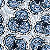 Vektor Cliparts: Nahtlose Muster mit abstrakten Blumen in blau