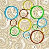 ID 3135004 | Helle Kreise auf orientalischem Paisley-HIntergrund | Stock Vektorgrafik | CLIPARTO
