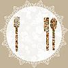temlate für Menü mit Messer, Gabel, Serviette und Löffel