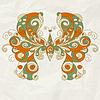 stilisierten Schmetterling auf zerknittertes Papier Textur