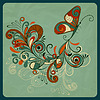 Schmetterling und Zweig auf zerknittertem Papier