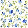 背景的蓝色玫瑰 | 向量插图
