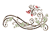 Design-Element mit Blumen und Efeu