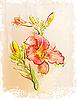 ID 3045870 | Rote Lilie im Vintage-Stil | Stock Vektorgrafik | CLIPARTO
