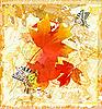 осенний гранж-фон с красными листьями клена