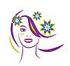 程式化的肖像,美丽的年轻女子花 | 向量插图