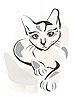 油渍大纲黑猫 | 向量插图