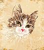 老式的猫的肖像 | 向量插图