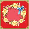 Kwiat wieniec z róż na czerwonym | Stock Vector Graphics