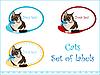 Набор наклеек с кошкой | Векторный клипарт