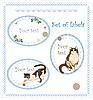 Набор наклеек с кошками и цветами | Векторный клипарт