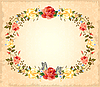 Grusskarte mit Rosen und Schmetterlingen