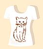 T恤设计与棕色毛茸茸的小猫 | 向量插图