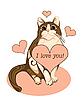 Walentynki kartkę z życzeniami z pręgowany kot i serca | Stock Vector Graphics