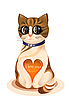 Walentynki kartkę z życzeniami z kotka i serca błyszczący | Stock Vector Graphics