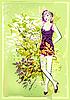 grüne Naturkarte mit einer jungen Frau