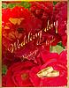 Hochzeitskarte mit Ringen und roten Rosen