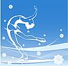 冬季运动。女士花样滑冰。冰上表演 | 向量插图