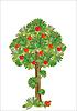 程式化的苹果树 | 向量插图