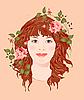 rothaariges Mädchen mit Rosen
