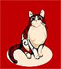 Полосатая кошка на красном | Векторный клипарт