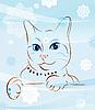 Кошка и снежинки | Векторный клипарт
