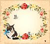 Открытка с розами, кошкой и бабочками | Векторный клипарт