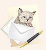 Vektor Cliparts: Fluffy Kätzchen mit Umschlag. Porto