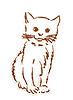 Vektor Cliparts: Hand gezeichnet Silhouette des kitten