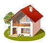 三维模型房子 | 向量插图