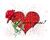 Karta Walentynki z czerwoną różą i serce | Stock Vector Graphics
