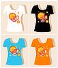 Vektor Cliparts: T-Shirt Design mit Orangen und Herzen