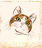 姜虎斑猫的肖像 | 向量插图