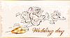 Hochzeitskarte mit Blumen und Ringen