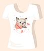 Vektor Cliparts: T-Shirt Design für Kinder mit Kätzchen und Herzen