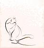 Vektor Cliparts: Prinzipdarstellung sitzende Katze