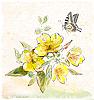 Vektor Cliparts: gelben Feld Blumen und Schmetterling