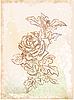 Vektor Cliparts: handgezeichnete Skizze von vintage rose