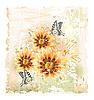 Vektor Cliparts: gelben Feld Blumen und Schmetterlinge