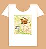 Vektor Cliparts: kindische T-Shirt Design mit Katze und Schmetterling