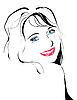 Vektor Cliparts: line art portrait des Flirtens jungen Mädchen