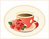 Vektor Cliparts: Tasse Tee mit Rose