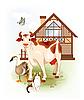 Kuh, Katze und Gans