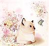 고양이와 함께 복고풍 생일 인사말 카드 | Stock Vector Graphics