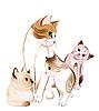 Счастливая кошачья семья | Векторный клипарт