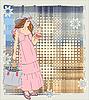 Vektor Cliparts: Grunge-Karte mit einem Mädchen