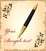 Vektor Cliparts: goldenen Stift über Vintage Hintergrund