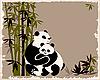 Vektor Cliparts: Pandas Familie in den Bambuswald