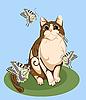Vektor Cliparts: Katze spielt mit Schmetterlingen